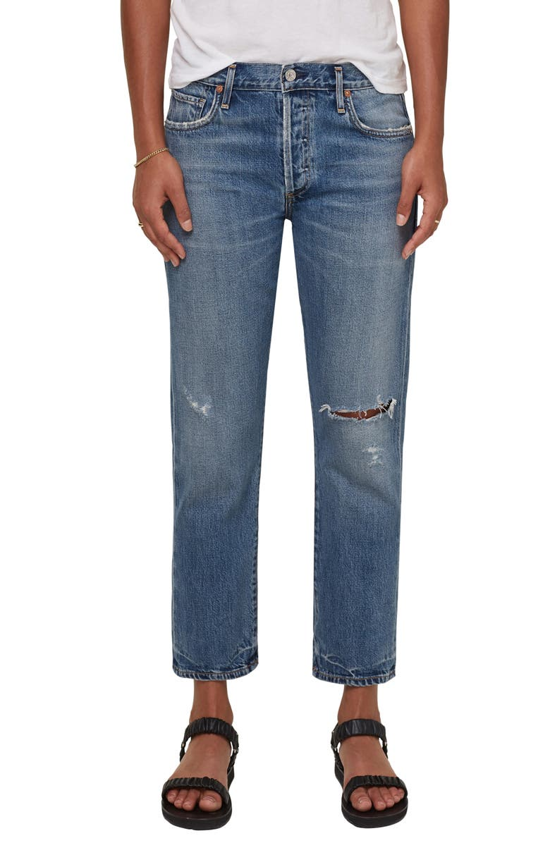 CITIZENS OF HUMANITY Emery Ripped High Waist Crop Straight Leg Jeans, Main, color, ROADTRIP