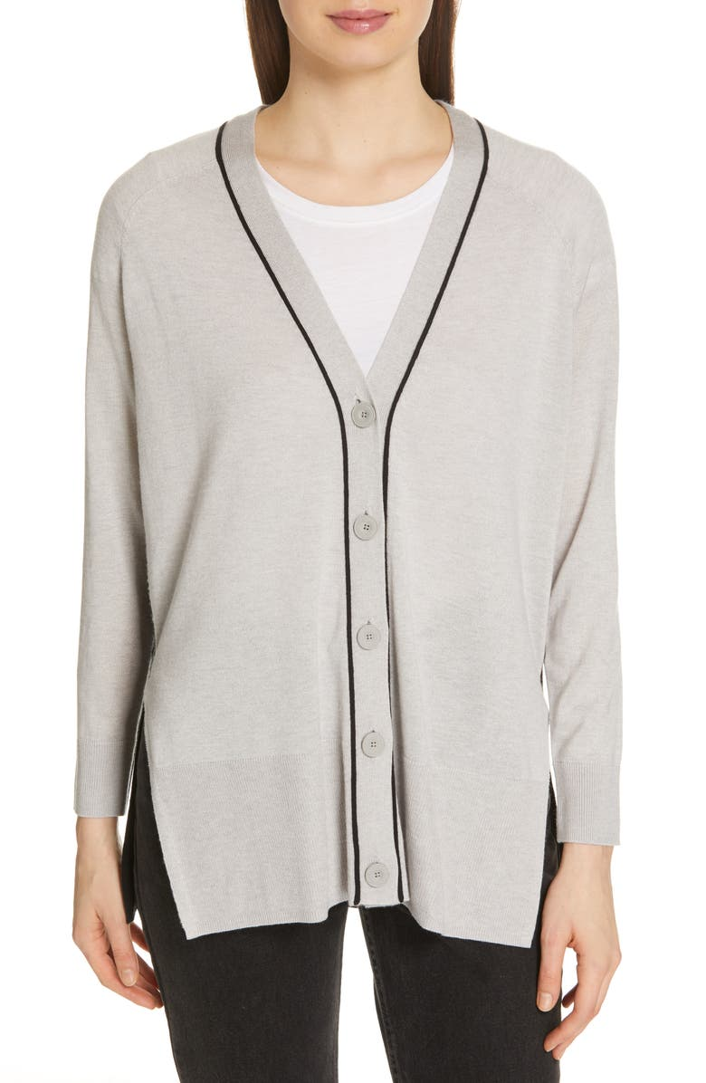ATM ANTHONY THOMAS MELILLO Spring Colorblock Silk, Wool & Cashmere Cardigan, Main, color, FOGGY BLACK COMBO