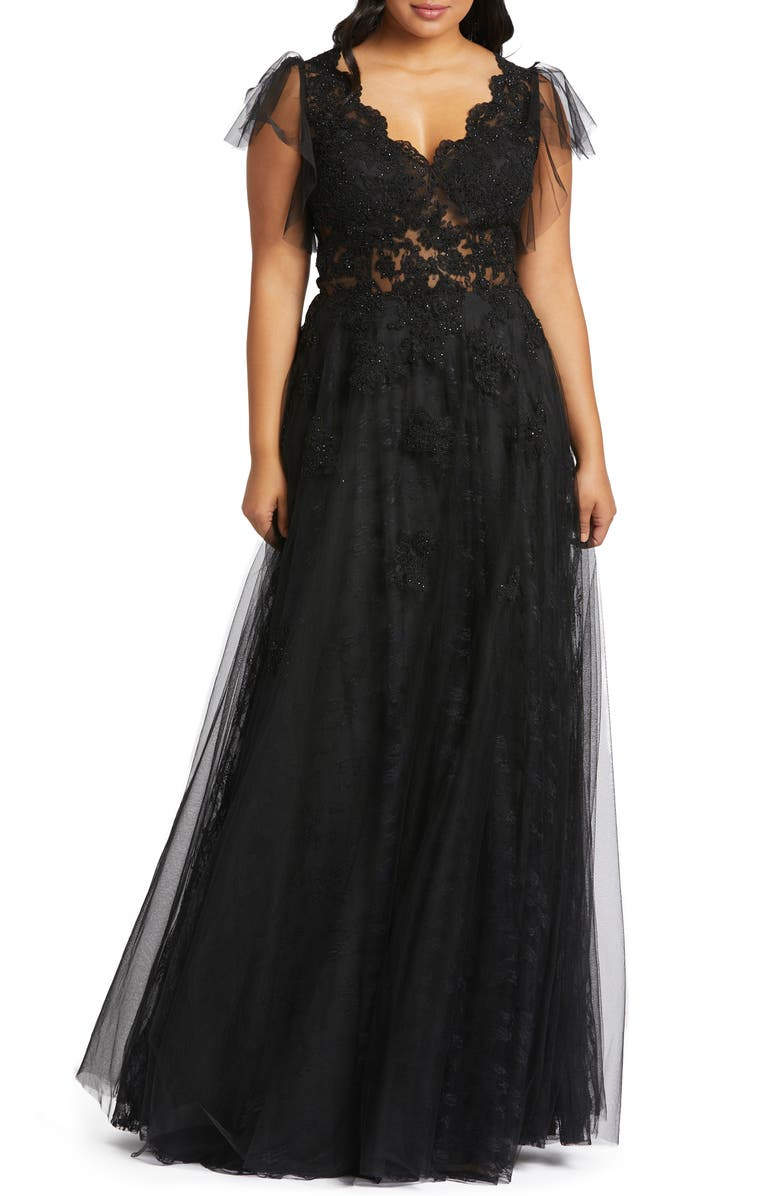 MAC DUGGAL Lace Illusion Tulle Gown, Main, color, BLACK