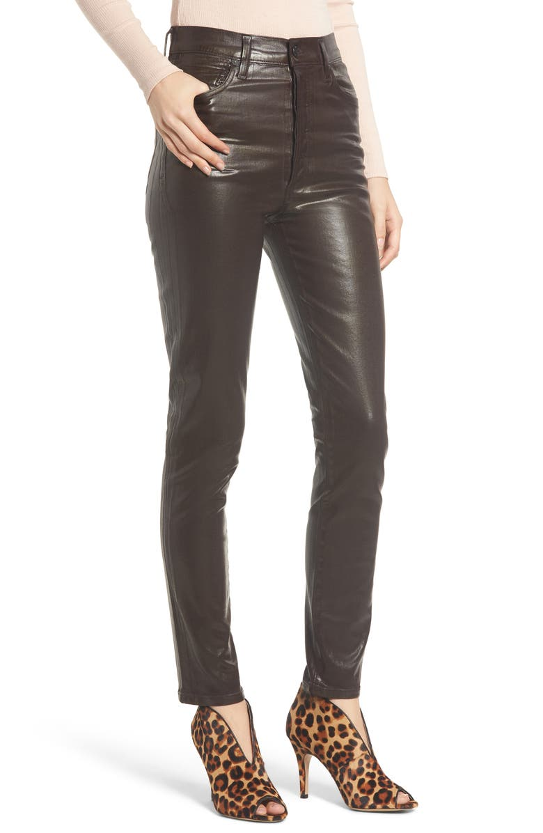 CITIZENS OF HUMANITY Olivia High Waist Slim Faux Leather Pants, Main, color, 201