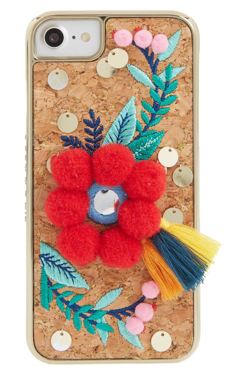 SKINNYDIP Scandi Pom-Embellished iPhone 6/7 & 6/7 Plus Case, Main, color, 600