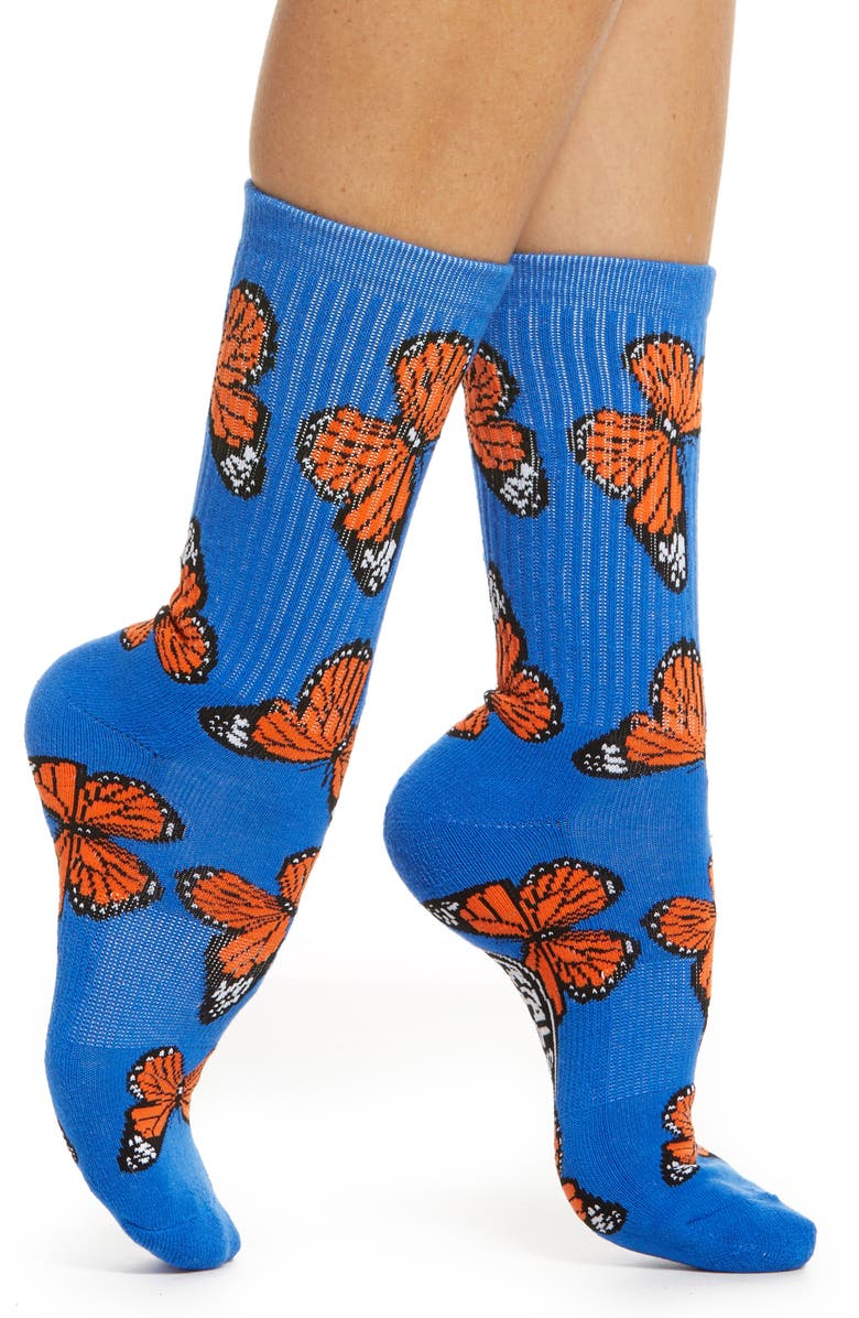 PETALS AND PEACOCKS Butterflying Blue Crew Socks, Main, color, 400