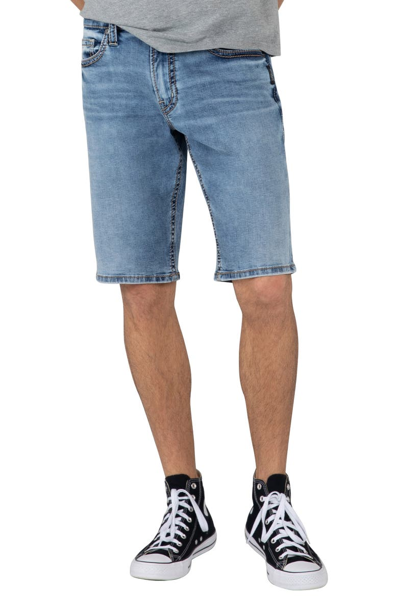 SILVER JEANS CO. Zac Relaxed Fit Denim Shorts, Main, color, INDIGO