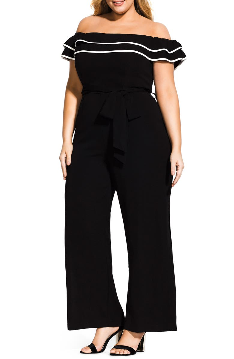 CITY CHIC Demure Off the Shoulder Jumpsuit, Main, color, 001