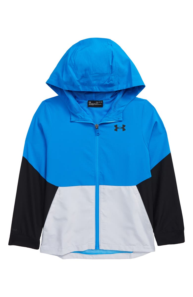 UNDER ARMOUR Kids' UA Legacy Colorblock Zip-Up Hooded Jacket, Main, color, BLUE CIRCUIT / / BLUE CIRCUIT