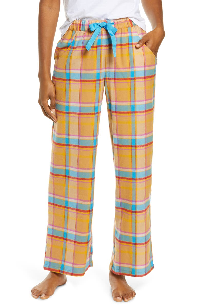 BP. Flannel Pajama Pants, Main, color, TAN BISCUIT HOLLY PLAID