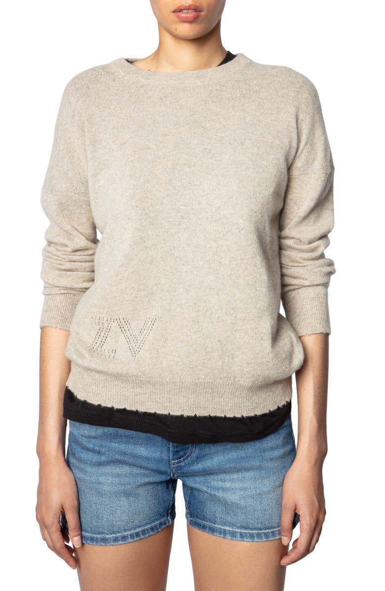 ZADIG & VOLTAIRE Cici Patch Sleeve Cashmere Sweater, Main, color, TOILE