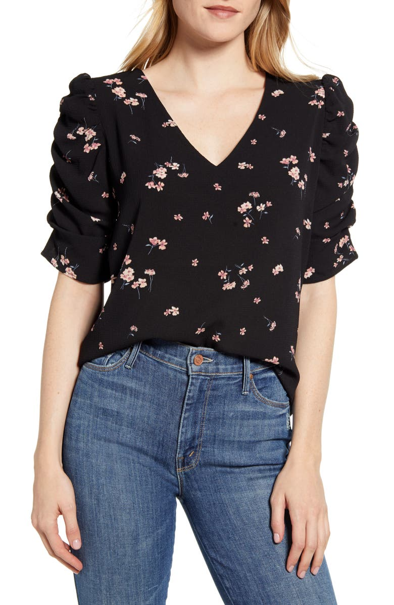 BOBEAU Floral Ruched Sleeve Blouse, Main, color, 010