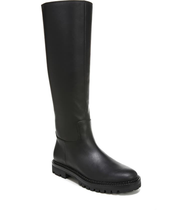 VINCE Collin Water Resistant Knee High Lug Boot, Main, color, BLACK LEATHER