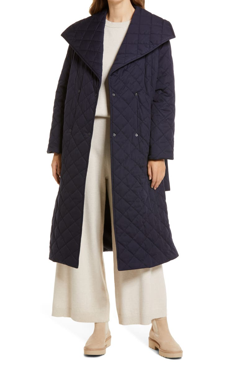 NORDSTROM Diamond Quilt Trench Coat, Main, color, NAVY NIGHT