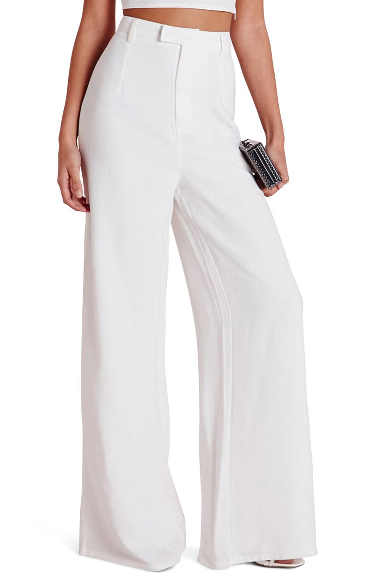 MISSGUIDED High Waist Wide Leg Crepe Trousers, Main, color, White