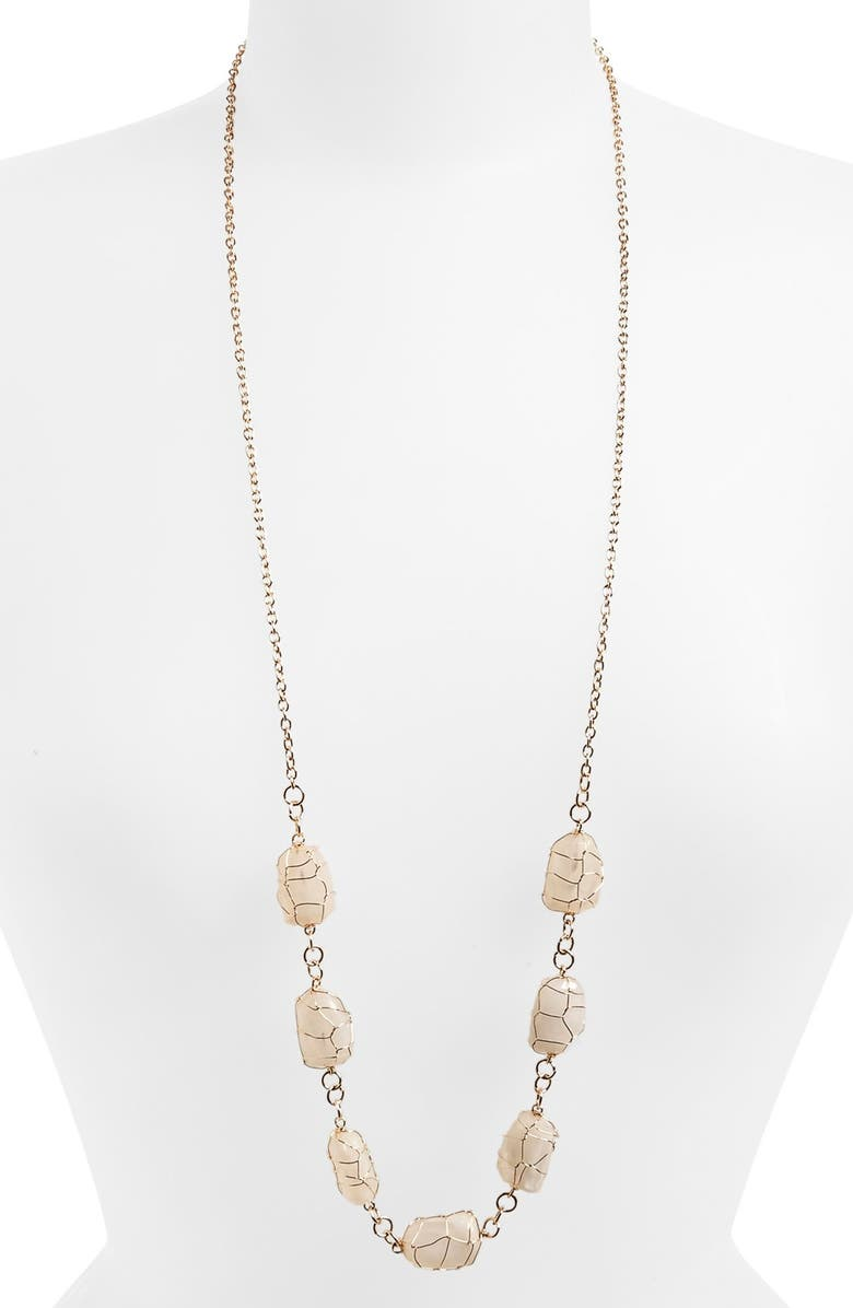 ROVE + PEARL South Sun Long Layering Necklace, Main, color, GOLD/ WHITE STONES