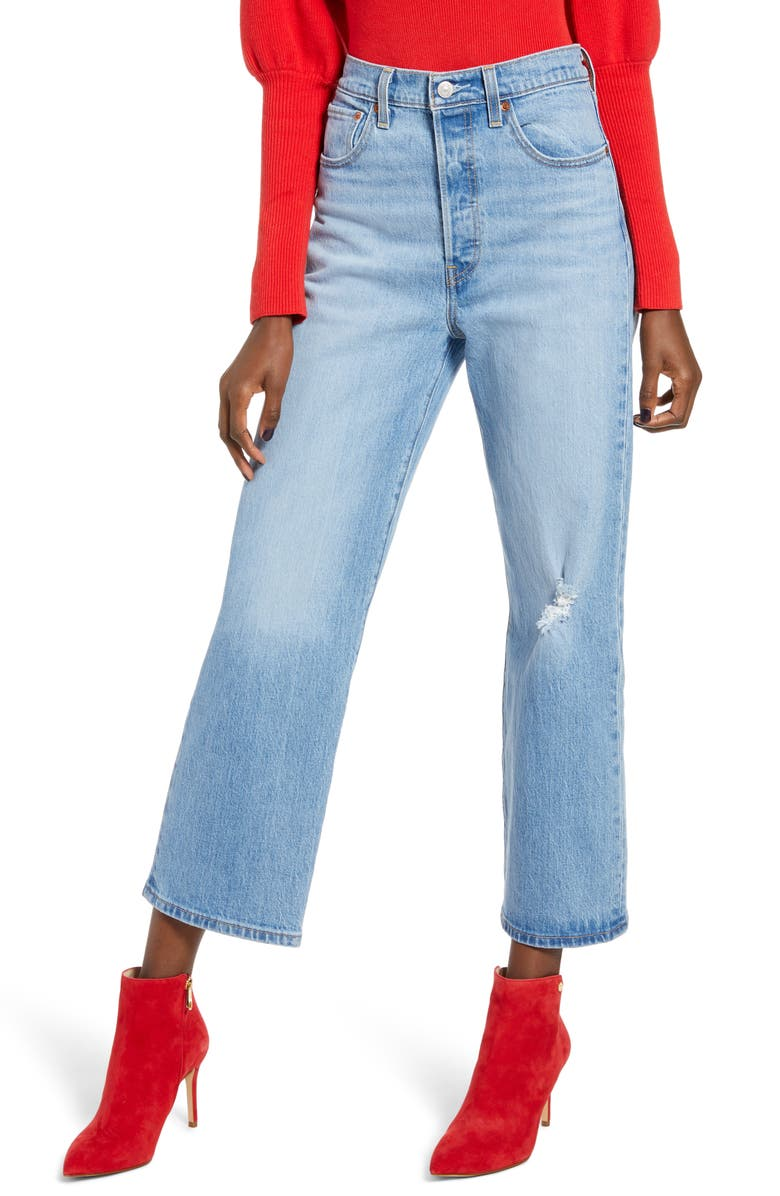 LEVI'S<SUP>®</SUP> Ribcage Super High Waist Ankle Straight Leg Jeans, Main, color, 450