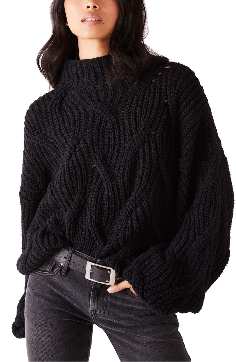 FREE PEOPLE Seasons Change Funnel Neck Sweater, Main, color, BLACK