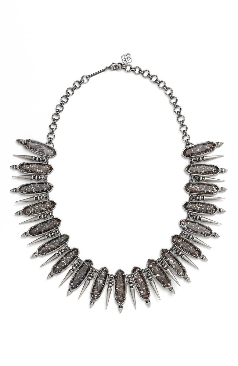 KENDRA SCOTT 'Gwendolyn' Collar Necklace, Main, color, BLACK MOTHER OF PEARL/ SILVER
