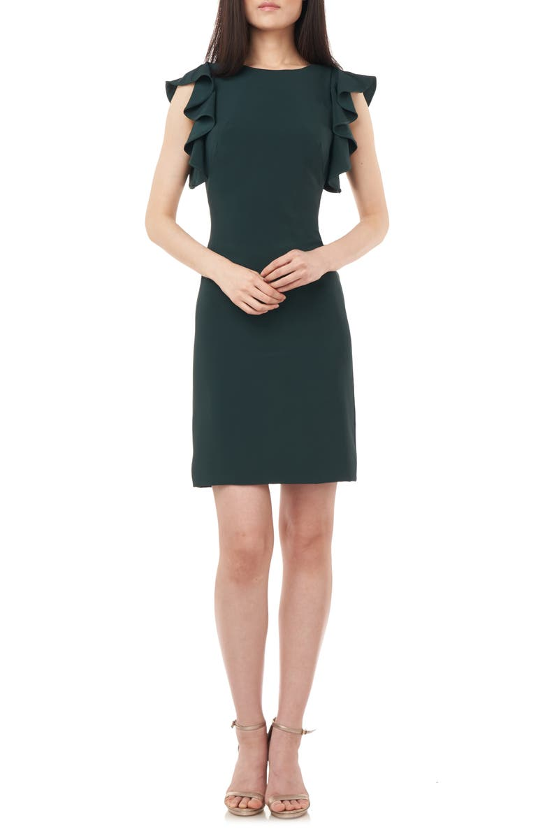 LOVE BY THEIA Ruffle Framed Crepe Cocktail Dress, Main, color, 301