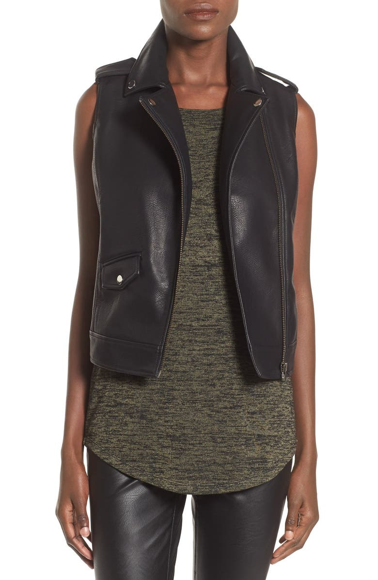 LEITH Faux Leather Vest, Main, color, 001