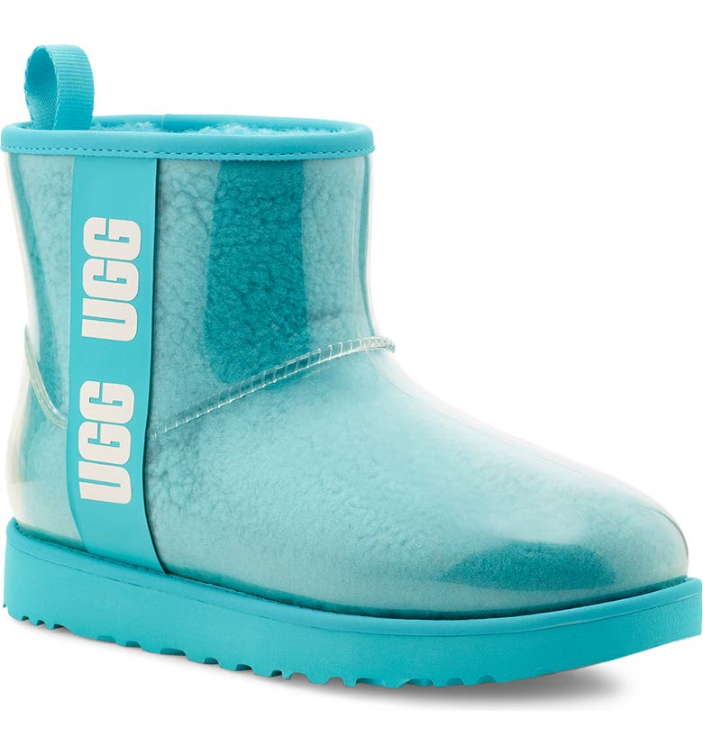 UGG<SUP>®</SUP> Classic Mini Waterproof Clear Boot, Main, color, CLEAR WATER