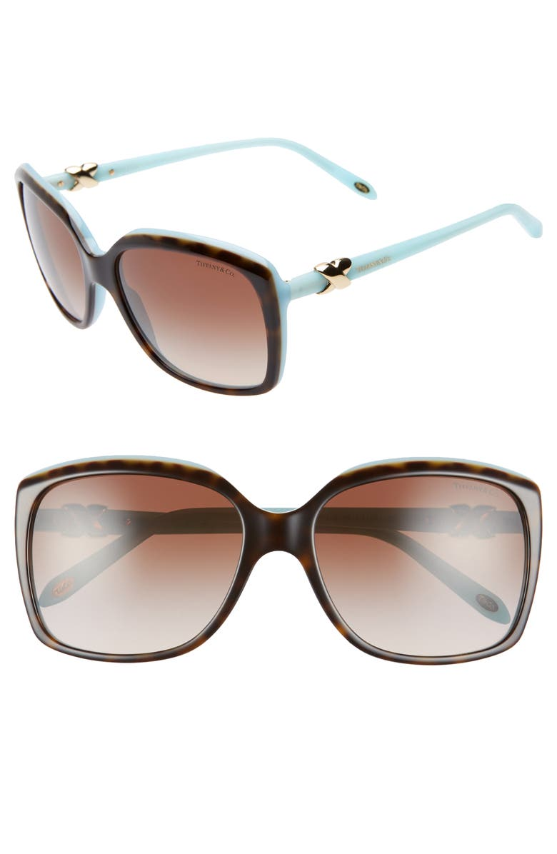 TIFFANY & CO. 58mm Rectangular Sunglasses, Main, color, HAVANA/ BLUE/ BROWN GRADIENT