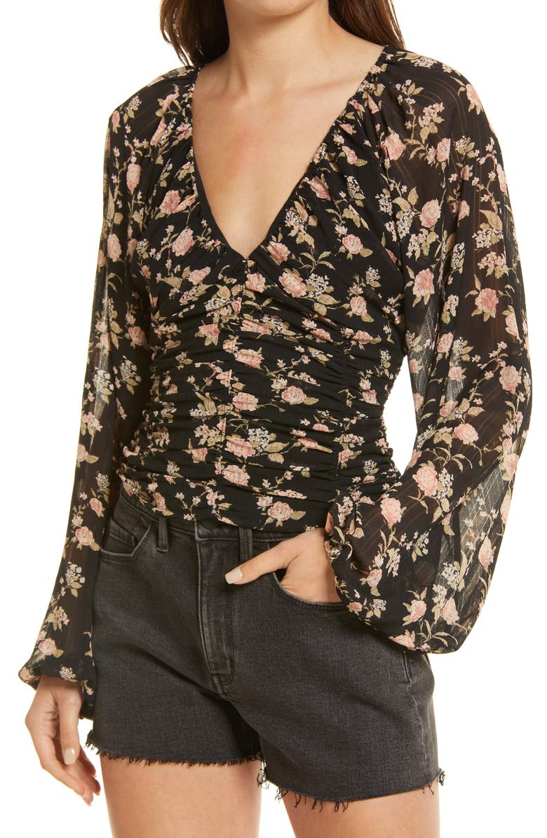 FREE PEOPLE New Final Rose Blouse, Main, color, BLACK COMBO