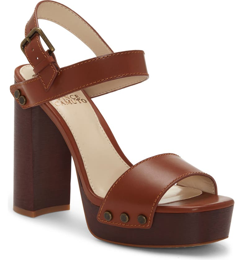 VINCE CAMUTO Lethalia Platform Sandal, Main, color, RICH BROWN LEATHER