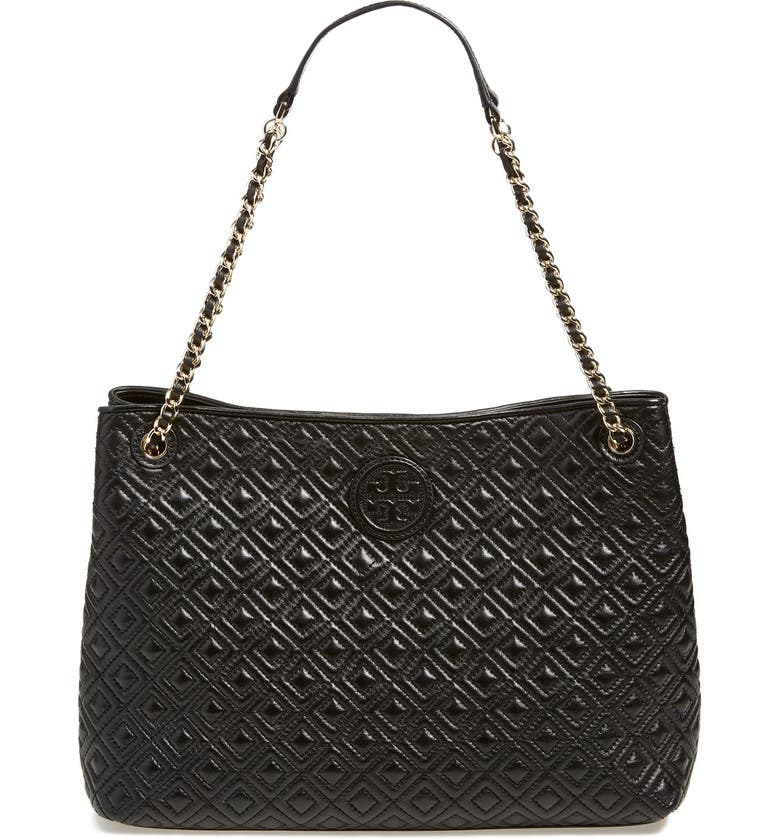 TORY BURCH 'Marion' Diamond Quilted Leather Tote, Main, color, 001