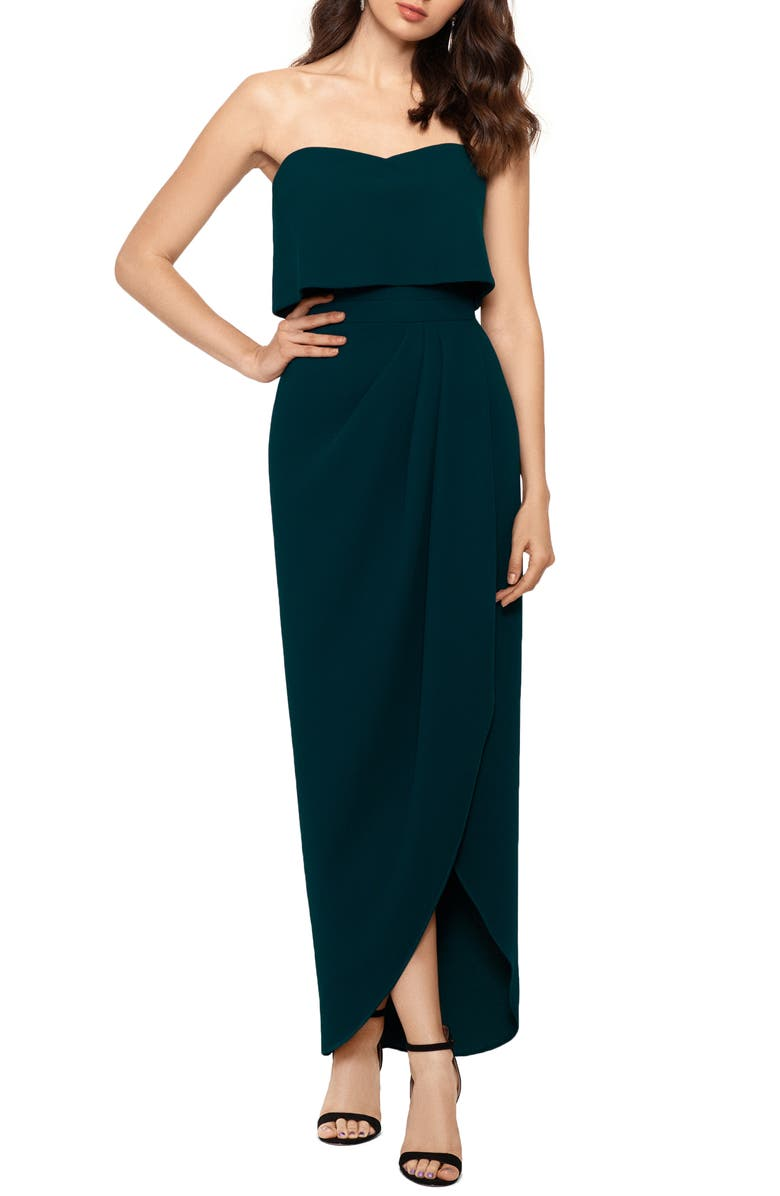 XSCAPE Strapless Popover Scuba Crepe Gown, Main, color, EMERALD