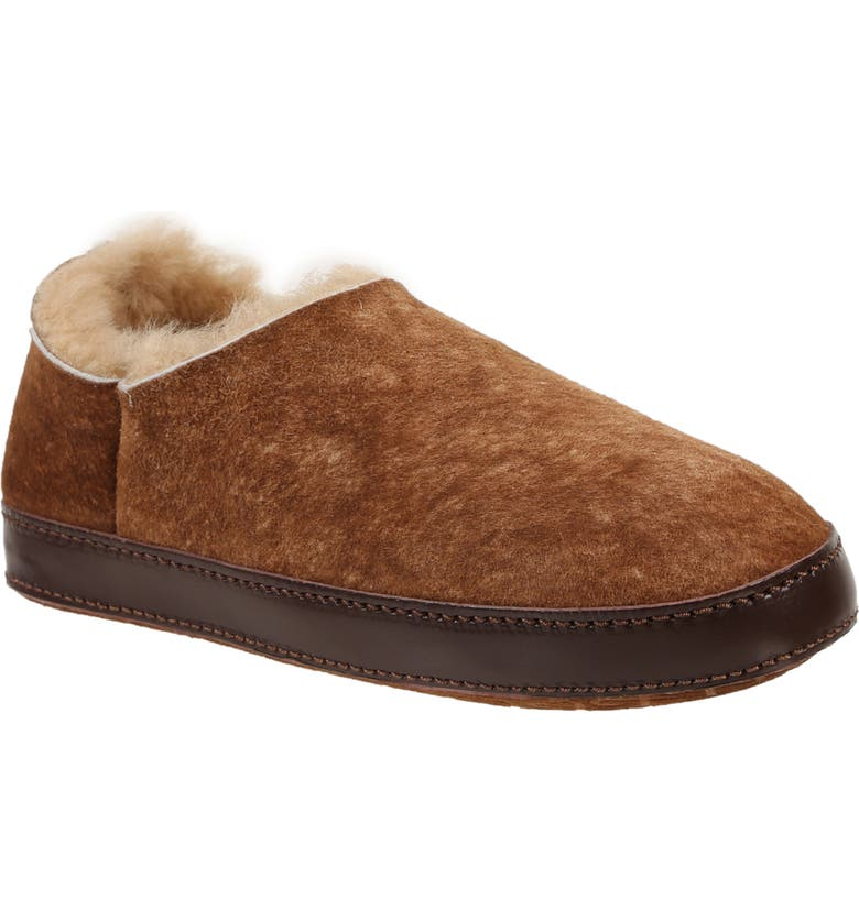 ROSS & SNOW Kristina Genuine Shearling Slipper, Main, color, STONE WASHED COGNAC