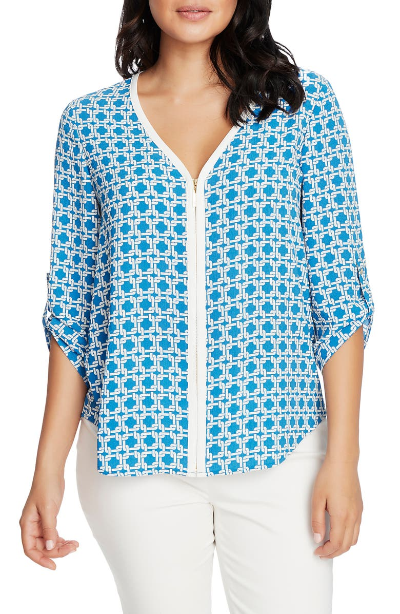 CHAUS Print Front Zip V-Neck Top, Main, color, 400