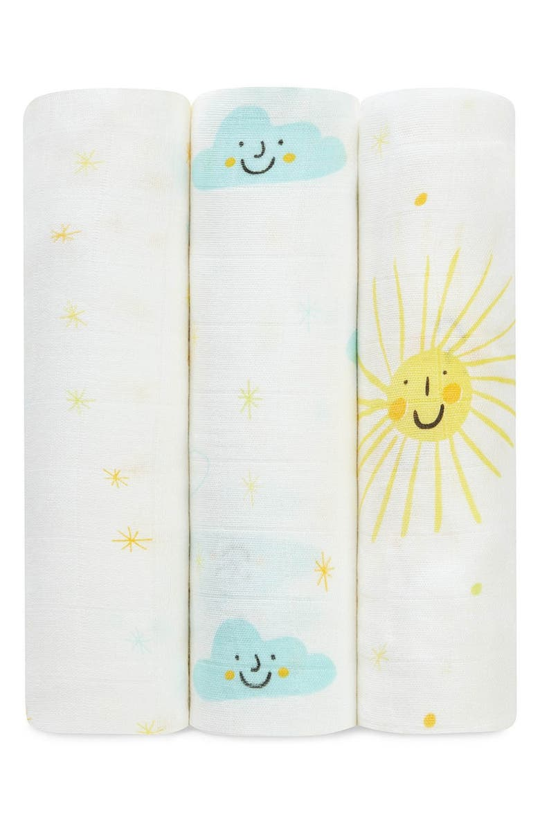 ADEN + ANAIS Print Swaddling Cloths, Main, color, NEW DAY