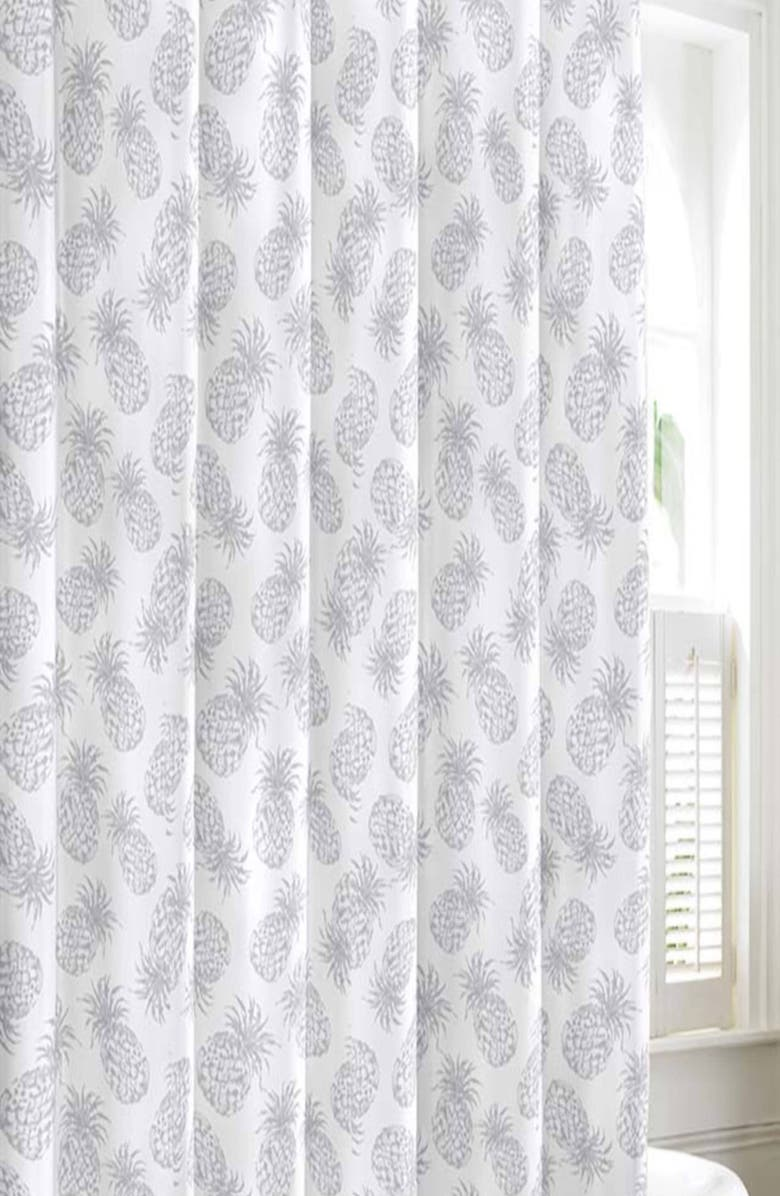 TOMMY BAHAMA Pineapple Shower Curtain, Main, color, PASTEL GREY