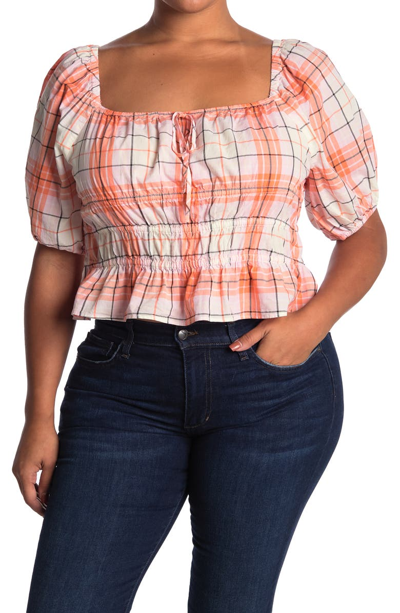 ABOUND Square Neck Yarn Dye Top, Main, color, CORAL- PINK ADLEY PLAID
