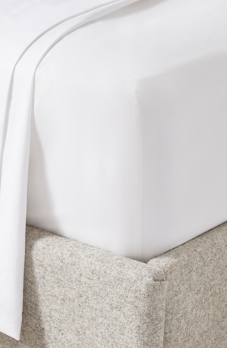 THE WHITE COMPANY 300 Thread Count Egyptian Cotton Sateen Sheet Set, Main, color, WHITE