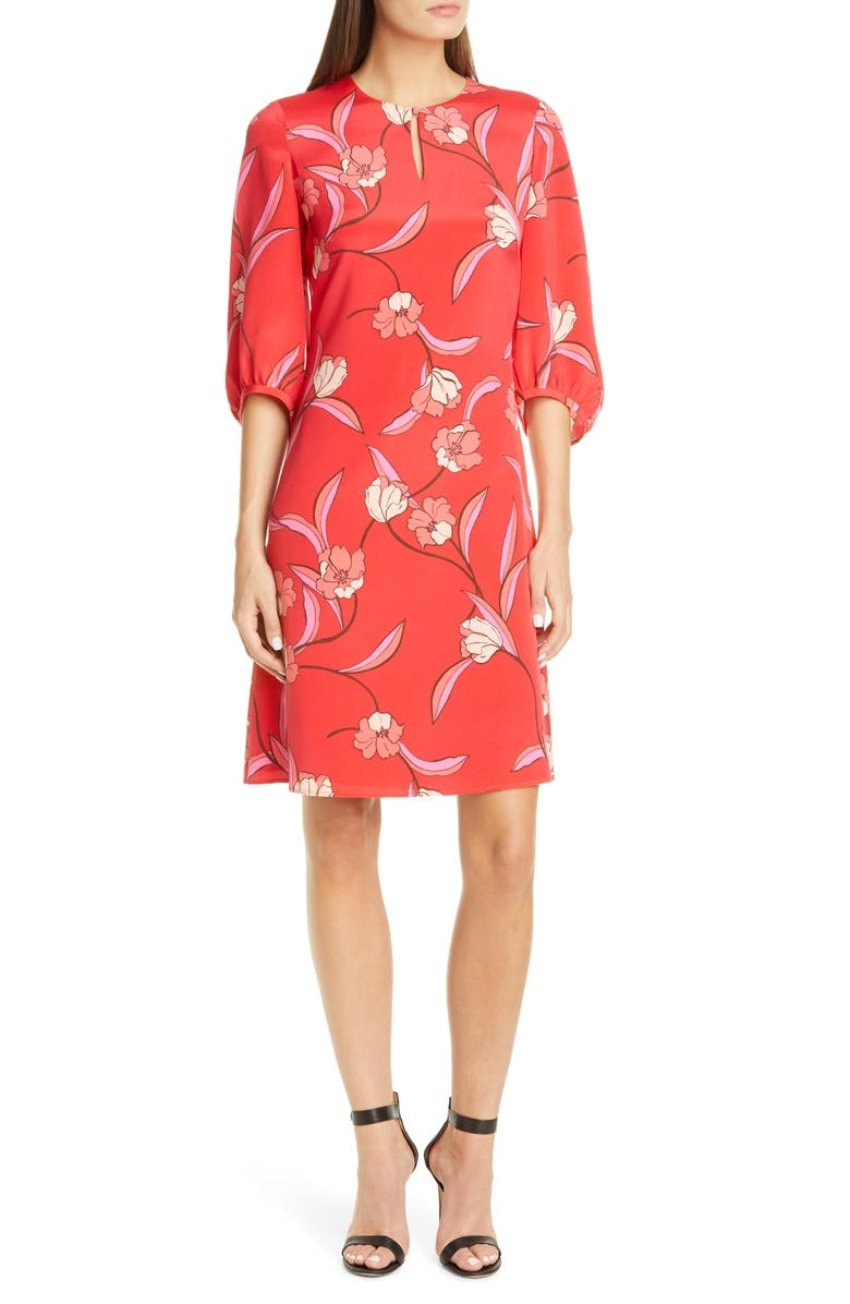 ST. JOHN COLLECTION Spring Floral Print Silk Dress, Main, color, 600