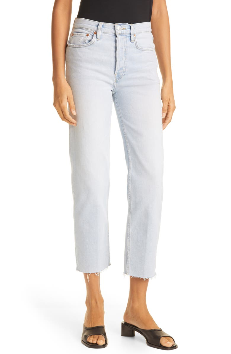 RE/DONE Originals High Waist Stovepipe Jeans, Main, color, ICY BLUE