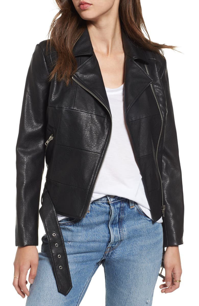 BB DAKOTA Maria Washed Faux Leather Patchwork Jacket, Main, color, 001