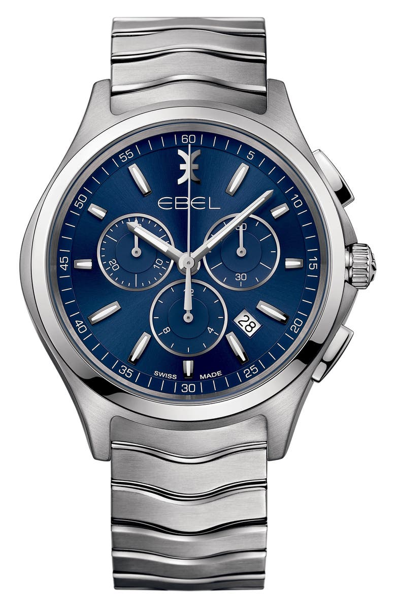 EBEL Wave Chronograph Bracelet Watch, 42mm, Main, color, 045