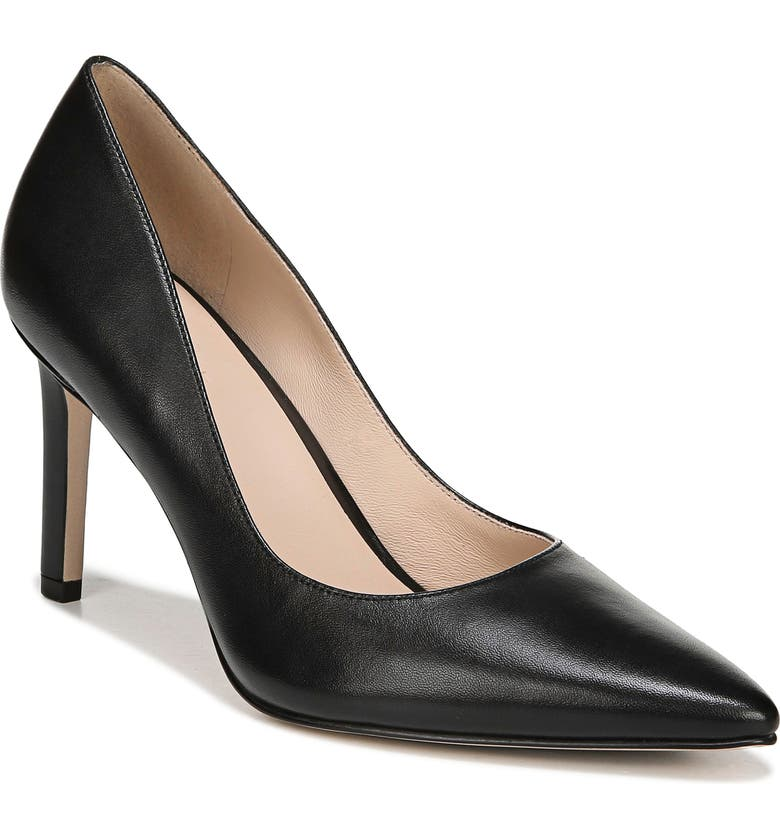 27 EDIT Alanna Pointed Toe Pump, Main, color, BLACK LEATHER