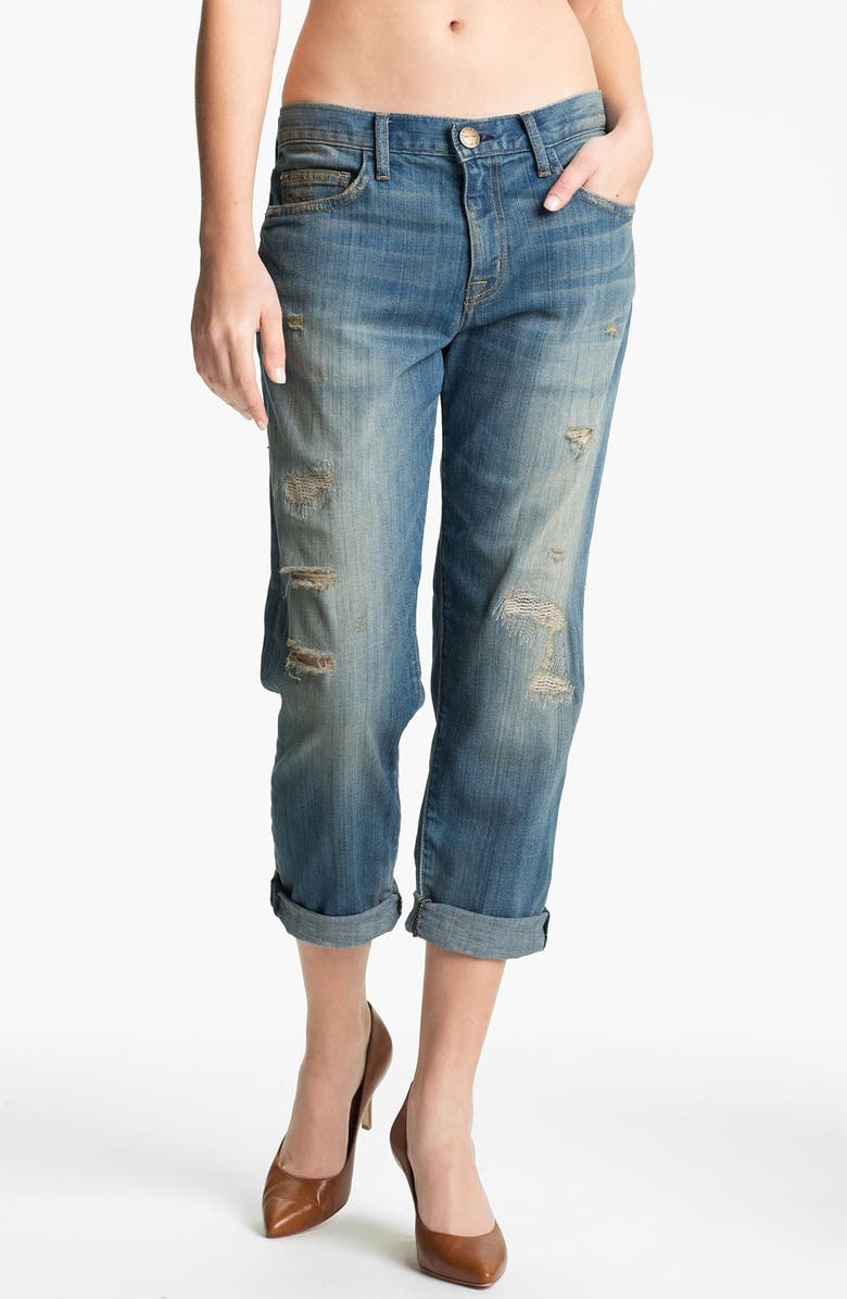 CURRENT/ELLIOTT 'The Boyfriend Jean' Stretch Jeans, Main, color, PANHANDLE WITH REPAIR