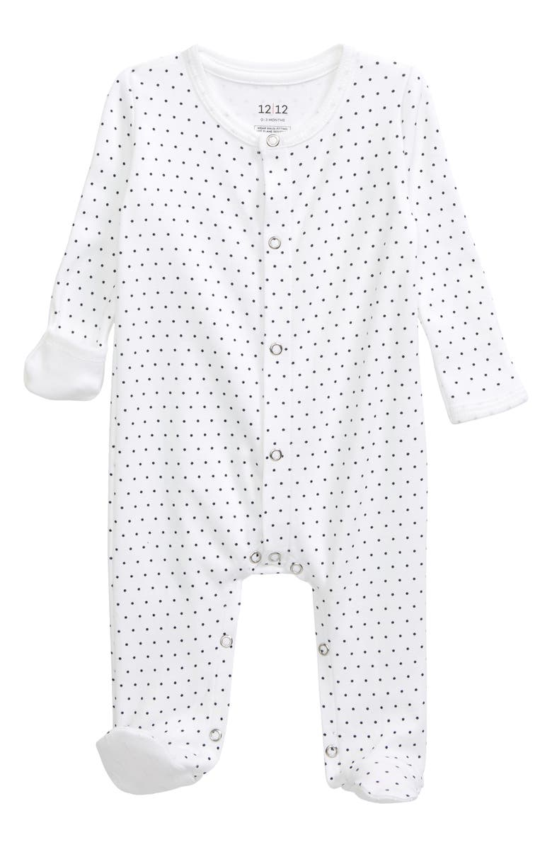 1212 The Nightly Fitted One-Piece Pajamas, Main, color, BLUE PIN DOT
