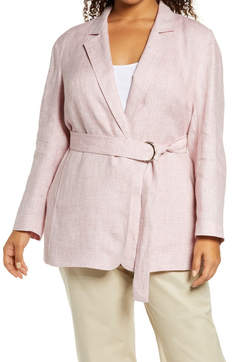 LAFAYETTE 148 NEW YORK Eaton Belted Etched Linen Blazer, Main, color, 651
