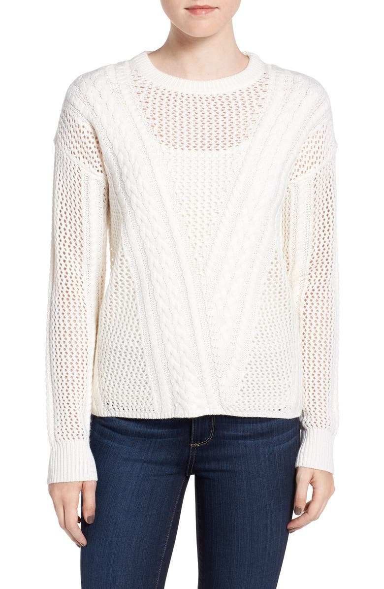 PAIGE Amory Open Knit Sweater, Main, color, IVORY