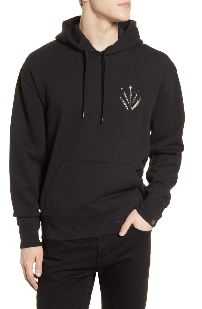 RAG & BONE Embroidered Dagger Hoodie, Main, color, 001