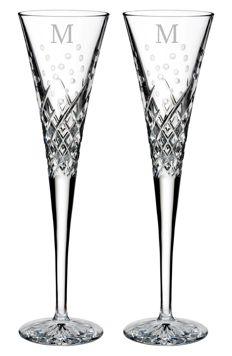 WATERFORD Happy Celebrations Set of 2 Monogram Lead Crystal Champagne Flutes, Main, color, 110