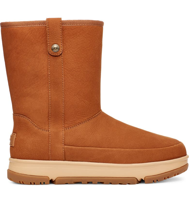 UGG<SUP>®</SUP> Classic Weather Short Waterproof Boot, Main, color, CHESTNUT NUBUCK LEATHER