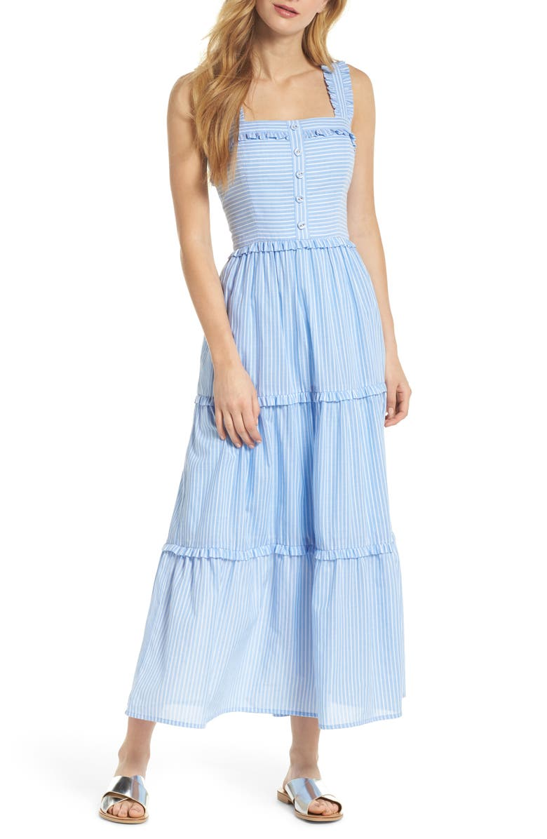 GAL MEETS GLAM COLLECTION Courtney Rio Stripe Lawn Maxi Dress, Main, color, BLUE/ WHITE