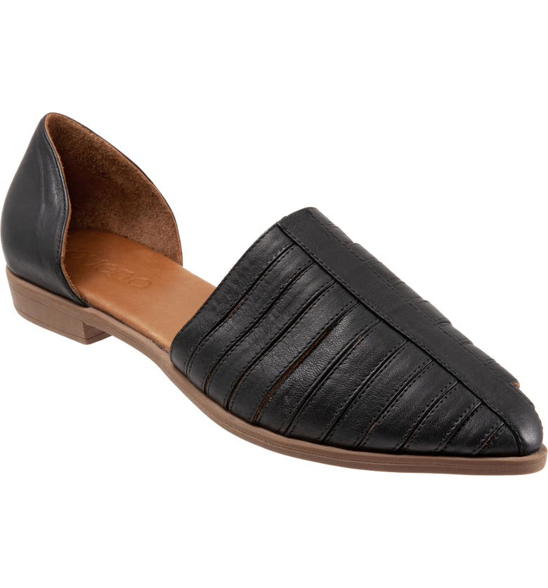 BUENO Brier d'Orsay Flat, Main, color, BLACK LEATHER