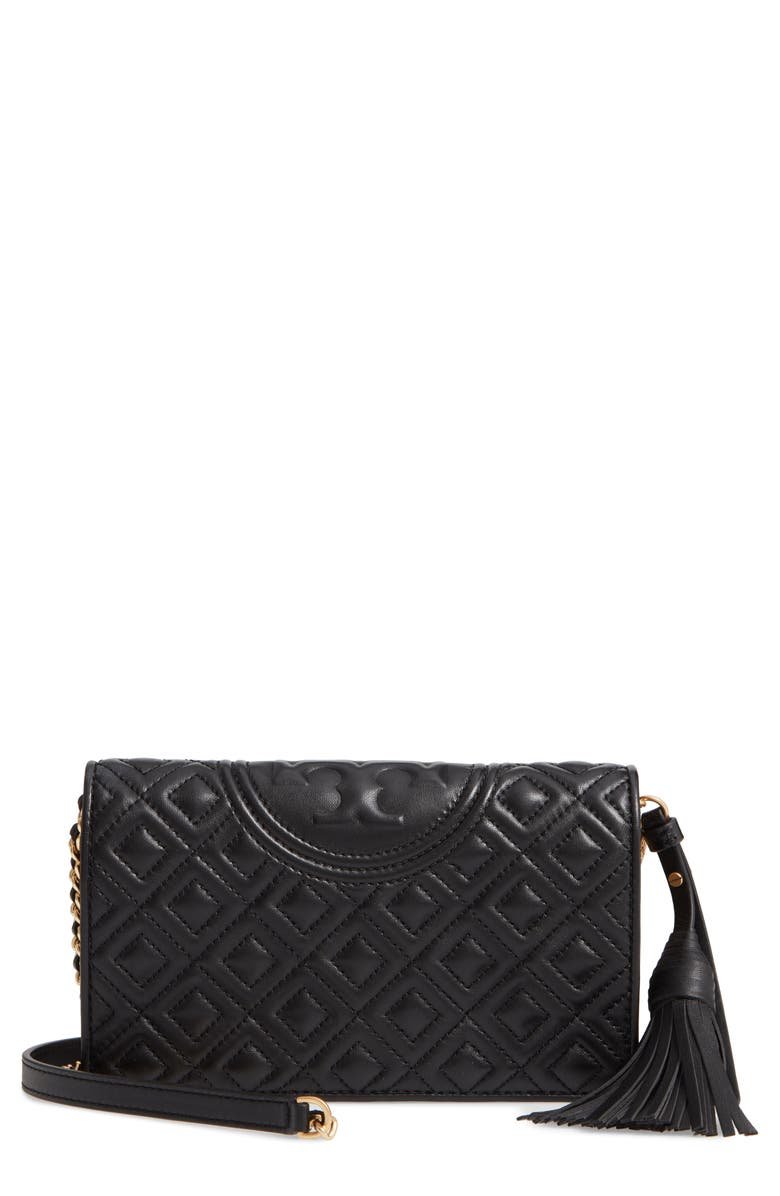TORY BURCH Fleming Lambskin Leather Crossbody Wallet, Main, color, BLACK