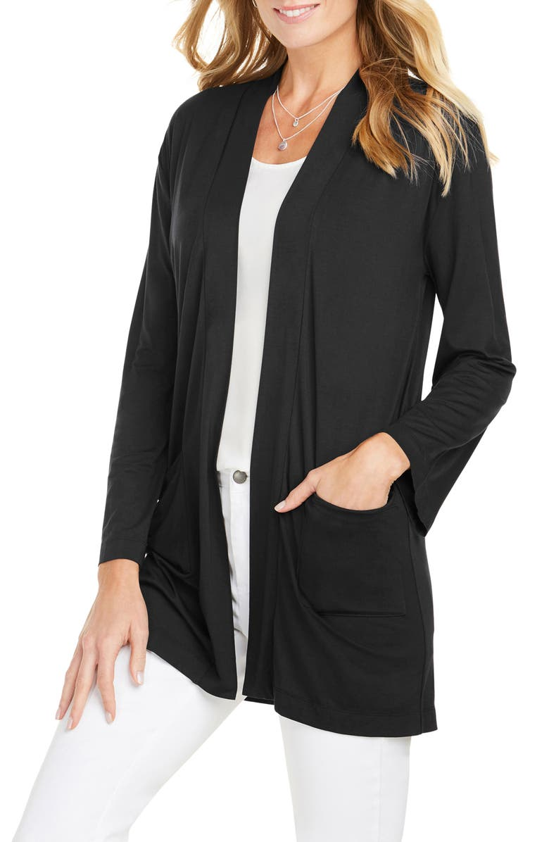FOXCROFT Lessie Jersey Knit Open Front Cardigan, Main, color, 001