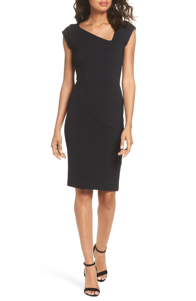 FRENCH CONNECTION Lula Asymmetrical Neck Sheath Dress, Main, color, 001